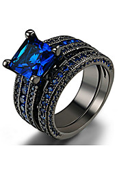 cheap -Men's Ring Set AAA Cubic Zirconia 1 set Dark Blue Alloy Circle Bohemian Casual / Sporty Wedding Engagement Jewelry Mismatched Lucky Cool