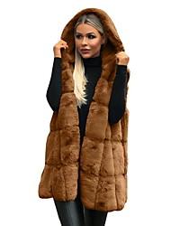 abordables -Femme Quotidien Basique Automne hiver Longue gilet, Couleur Pleine Capuche Sans Manches Fausse Fourrure Noir / Marron / Gris