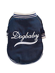 cheap -Dogs Cats Coat Baseball Winter Dog Clothes Dark Blue Costume Plush Embroidered Sports L XL