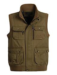 cheap -Men's Hiking Vest / Gilet Fishing Vest Outdoor Lightweight Breathable Wear Resistance Multi Pocket Vest / Gilet Top Cotton Single Slider Hunting Fishing Hiking Army Green / Khaki