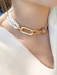 cheap -Women's White Choker Necklace Classic Trendy Imitation Pearl Chrome Gold 35 cm Necklace Jewelry 1pc For Street Club