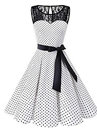 cheap -Women's Plus Size A-Line Dress Knee Length Dress - Sleeveless Polka Dot Lace 1950s Daily White Black S M L XL XXL XXXL XXXXL XXXXXL / Sexy