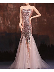 cheap -Mermaid / Trumpet Strapless Floor Length Tulle / Sequined Elegant Formal Evening Dress 2020 with Sequin