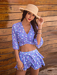 cheap -SANQI Women's Two Piece Swimsuit Swimwear Quick Dry Short Sleeve 3-Piece - Swimming Water Sports Patchwork Summer