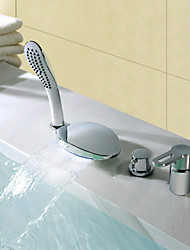 cheap -Shower Faucet / Bathtub Faucet - Contemporary Chrome Widespread Ceramic Valve Bath Shower Mixer Taps