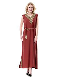cheap -Women's Party Daily Weekend Abaya Jalabiya Dress - Solid Colored Split V Neck Summer Blue Brown Black XL XXL XXXL