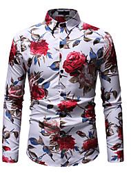 cheap -Men's Going out Club Beach Boho / Street chic EU / US Size Cotton Shirt - Graphic Print Classic Collar White / Long Sleeve / Summer