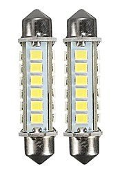 cheap -2pcs 44mm 2.6W 2835 24SMD White Festoon LED Interior Dome Light License Plate Bulb