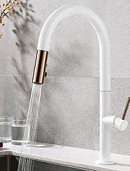 cheap -Kitchen faucet - Single Handle One Hole Pull-out / Pull-down / Tall / High Arc Contemporary Kitchen Taps / Brass