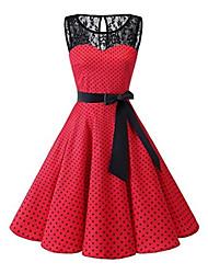 cheap -Women's Plus Size Daily 1950s A Line Dress - Polka Dot Lace Black White Red S M L XL / Sexy