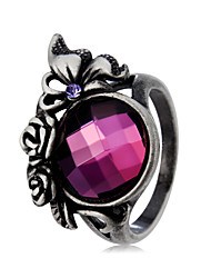 cheap -Women's Statement Ring Ring Crystal Amethyst 1pc Purple Silver Plated Imitation Diamond Alloy Vintage Oversized Hippie Party Street Jewelry Vintage Style Butterfly Cool