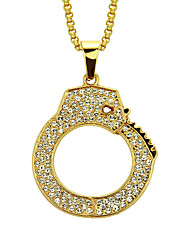 cheap -Men's Cubic Zirconia Pendant Necklace Long Partners in Crime Handcuffs Rock Fashion Hip-Hop Hip Hop Gold Plated Yellow Gold Imitation Diamond Gold 76 cm Necklace Jewelry 1pc For Street Club Bar