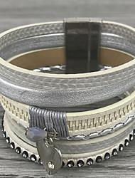 cheap -Women's Leather Bracelet Layered Basic Leather Bracelet Jewelry Beige / Gray / Blue For Wedding Party Birthday Gift Daily / Rhinestone