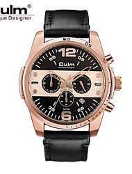 cheap -Oulm Men's Wrist Watch Quartz Genuine Leather Black / Brown 30 m Cute New Design Three Time Zones Analog Fashion Elegant - Gold Black Rose Gold One Year Battery Life / Jinli 377