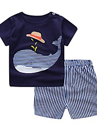 cheap -Baby Boys' Basic Daily Blue & White Jacquard Short Sleeve Short Short Cotton Clothing Set Navy Blue / Toddler