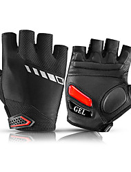 cheap -ROCKBROS Bike Gloves / Cycling Gloves Mountain Bike Gloves Mountain Bike MTB Road Bike Cycling Reflective Adjustable Breathable Padded Fingerless Gloves Half Finger Sports Gloves Sponge Leather SBR