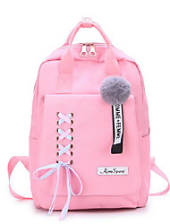 cheap -School Bag / Commuter Backpacks Women's Canvas Zipper Solid Color Daily / School Black / Yellow / Blushing Pink / Gray