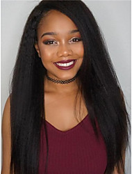 cheap -Virgin Human Hair Lace Front Wig Deep Parting style Brazilian Hair kinky Straight Natural Wig 130% 150% 180% Density with Baby Hair Natural Hairline with Clip Glueless With Bleached Knots Women's