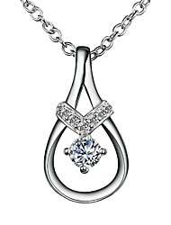 cheap -Women's Clear Diamond Cubic Zirconia Pendant Necklace Chain Necklace Necklace Pear Cut Drop Pear Simple Romantic Fashion Cute Silver Plated Silver 46 cm Necklace Jewelry 1pc For Gift Daily Date Work