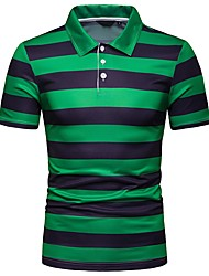 cheap -Men's Striped Slim Polo Daily Shirt Collar White / Orange / Green / Short Sleeve