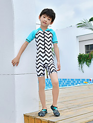 cheap -MEIYIER Boys' Rash Guard Dive Skin Suit Diving Suit Quick Dry Half Sleeve Front Zip 2-Piece - Swimming Water Sports Stripes Patchwork Summer / High Elasticity / Kid's