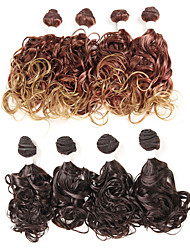 cheap -Laflare Synthetic Extentions Wavy Synthetic Hair Mid Length Hair Extension Weft Hair weave 4 Pieces Cosplay Adjustable Best Quality Women's Christmas Halloween Dailywear