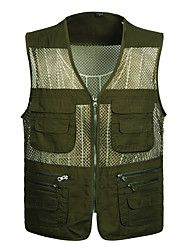 cheap -Men's Hiking Vest / Gilet Fishing Vest Outdoor Lightweight Breathable Quick Dry Wear Resistance Jacket Top Mesh Single Slider Hiking Climbing Camping Dark Green / Ivory / Army Green / Multi Pocket
