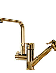 cheap -Kitchen faucet - Two Handles One Hole Nickel Brushed Pull-out / ­Pull-down Ordinary Kitchen Taps / Brass