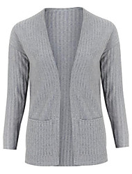 cheap -Women's Daily Street chic Solid Colored Long Sleeve Regular Cardigan Sweater Jumper, V Neck Spring / Fall Wine / Gray S / M / L