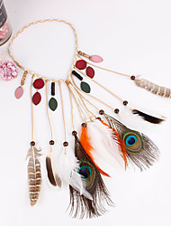 cheap -Gypsy American Indian Adults' Women's Bohemian Retro Ethnic Vacation Dress Halloween Boho Headpiece Feather Samba Headdress For Party Halloween Festival Wood Feathers Plush Feathers Vintage Headwear