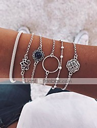 cheap -6pcs Women's Chain Bracelet Bracelet Bangles Pendant Bracelet Layered Retro Moon Lotus Flower Shape Vintage Boho Resin Bracelet Jewelry Silver For Party Daily Street