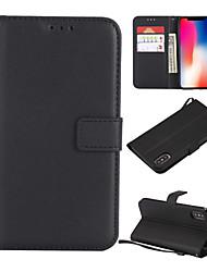 Недорогие -Кейс для Назначение Apple iPhone XS / iPhone XR / iPhone XS Max Бумажник для карт / со стендом Чехол Однотонный Твердый Кожа PU