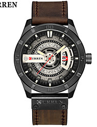 cheap -Men's Dress Watch Wrist Watch Quartz Genuine Leather Black / Red / Brown Water Resistant / Waterproof Calendar / date / day Casual Watch Analog Classic Fashion - Black / Red Brown Khaki