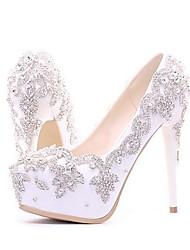 cheap -Women's PU(Polyurethane) Spring &  Fall Classic Wedding Shoes Platform Round Toe Rhinestone / Sparkling Glitter Silver