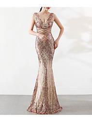 cheap -Mermaid / Trumpet Plunging Neck Floor Length Tulle / Sequined Beautiful Back / Elegant Formal Evening Dress 2020 with Beading / Sequin / Crystals / Embroidery