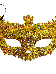cheap -Venetian Mask Masquerade Mask Half Mask Inspired by Cosplay Black Golden Sequins Halloween Halloween Carnival Masquerade Adults' Women's Female