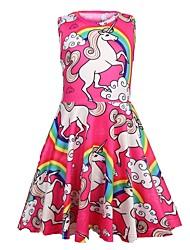 cheap -Kids Girls' Sweet Going out Unicorn Cartoon Sleeveless Knee-length Dress Red