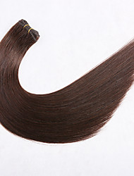 cheap -Premierwigs Weft Human Hair Extensions Straight Unprocessed Human Hair Extension Brazilian Hair Natural Dark Brown 1 pc Woven Natural Best Quality Women's Dark Brown
