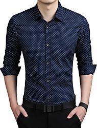 cheap -Men's Plus Size Polka Dot Shirt Basic Street chic Daily Holiday Work Classic Collar White / Red / Khaki / Green / Navy Blue / Summer / Long Sleeve