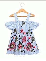 cheap -Kids Toddler Girls' Sweet Cute Geometric Short Sleeve Dress Light Blue