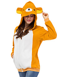 cheap -Adults' Hoodie Kigurumi Pajamas Bear Onesie Pajamas Polar Fleece Yellow Cosplay For Men and Women Animal Sleepwear Cartoon Festival / Holiday Costumes