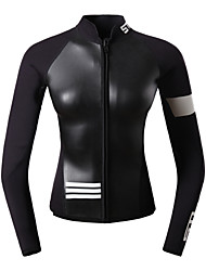 cheap -Women's Wetsuit Top 2.5mm CR Neoprene Top UV Sun Protection Ultraviolet Resistant UPF50+ Long Sleeve Front Zip - Snorkeling Wakeboarding Water Sports Solid Colored Summer / High Elasticity