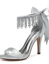 cheap -Women's Wedding Shoes High Heel Open Toe Wedding Sandals Wedding Party & Evening Satin Rhinestone Satin Flower Tassel Solid Colored White Black Purple