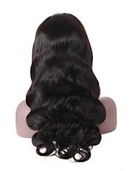 Недорогие -человеческие волосы Remy Лента спереди Парик стиль Бразильские волосы Естественные кудри Черный Парик 150% Плотность волос Для темнокожих женщин Жен. Длинные