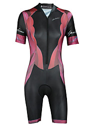 cheap -ILPALADINO Women's Short Sleeve Triathlon Tri Suit Elastane Black Bike Triathlon / Tri Suit Coverall Breathable Quick Dry Ultraviolet Resistant Sports Clothing Apparel