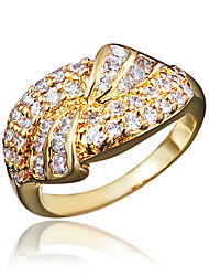 cheap -Women's Ring Engagement Ring Cubic Zirconia 1pc Gold Silver 18K Gold Plated Imitation Diamond Statement Stylish Romantic Party Engagement Jewelry Classic