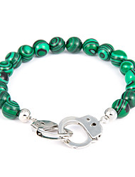 cheap -Men's Bead Bracelet Beads Partners in Crime Handcuffs Classic Vintage Stone Bracelet Jewelry Green For Holiday Going out
