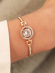 cheap -Women's Synthetic Diamond Chain Bracelet Bracelet Bangles Classic Flower Luxury Korean Cute Imitation Diamond Bracelet Jewelry Gold / Silver / Rose Gold For Party Daily Carnival
