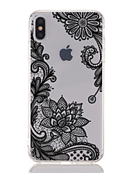 cheap -Case For Apple iPhone XS / iPhone XR / iPhone XS Max Transparent / Pattern Back Cover Lace Printing / Flower Soft TPU
