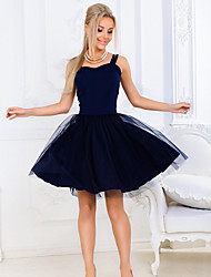 cheap -Women's Party A Line Dress - Solid Colored Strap Cotton White Blushing Pink Navy Blue S M L XL / Sexy